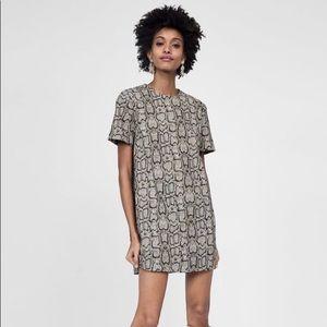 Zara Snakeskin Print Jacquard Dress 🐍